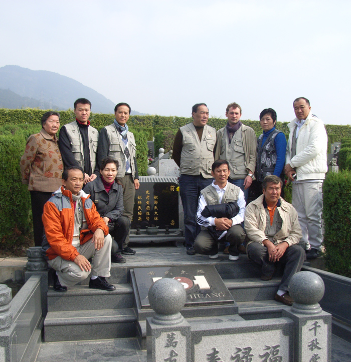 At Grandmaster Huang's grave in Fuzhou with GMH's family and Sabah Huang Tai Chi instructors Dec 2008